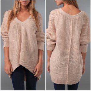 Free People | Tan Chunky Knit V Neck Sweater